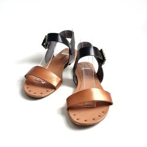 Two tone ankle strap flats